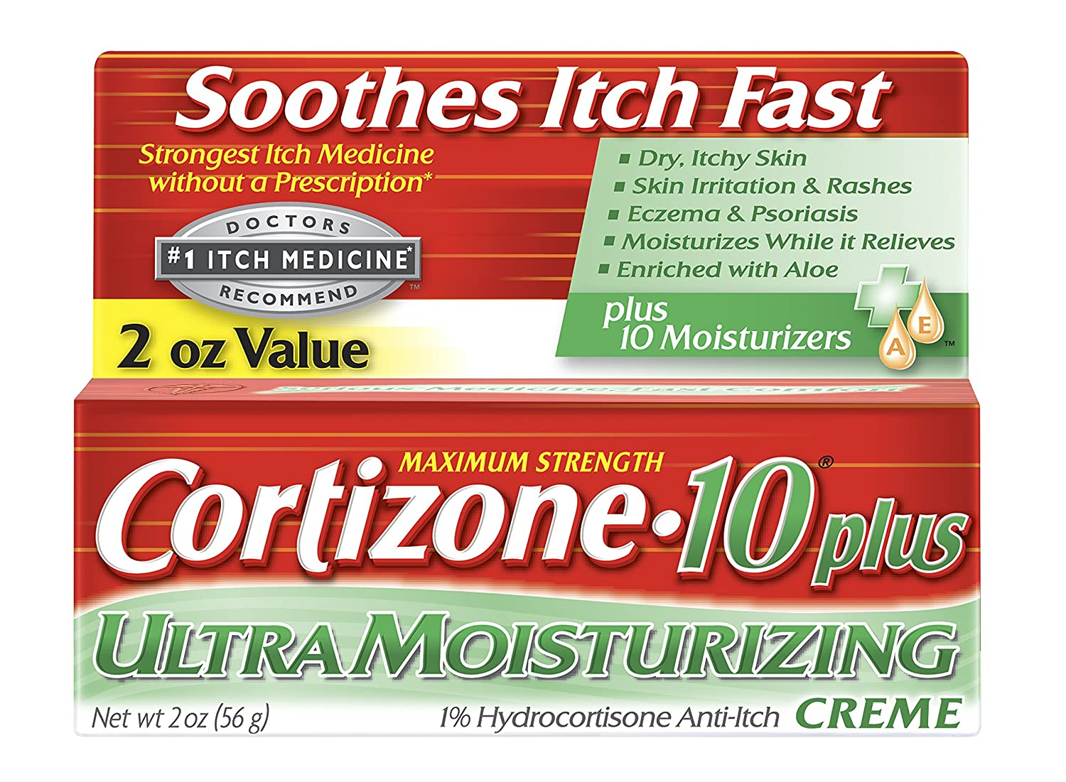 Amazon.com: Cortizone-10 Plus Ultra Moisturizing Cream, 2 oz, Anti-Itch  Cream with Aloe Vera and Vitamin A, Helps Relieve Dry, Itchy Skin, Skin  Irritations ...