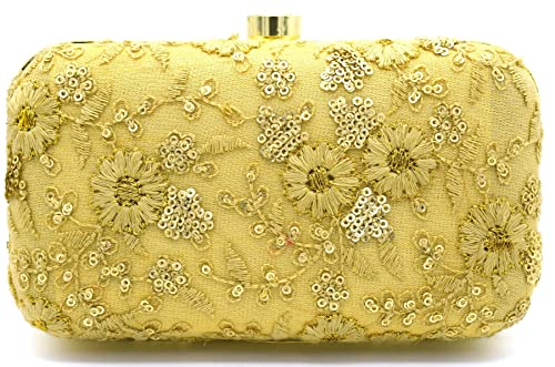 Tooba Women s Synthetic Handicraft Hand Embroidered Box Clutch Bag Purse  (Beige) a368edf67be87