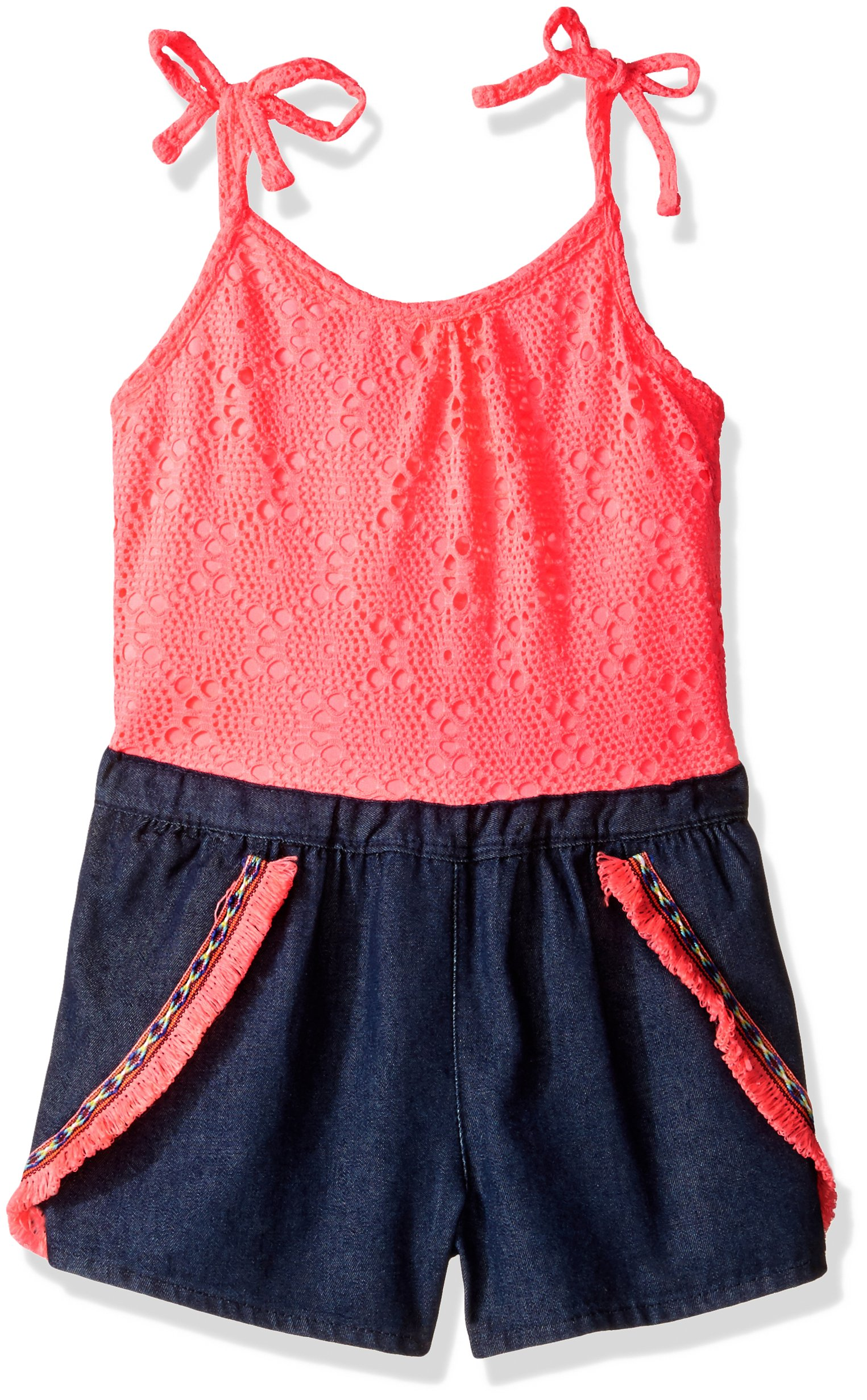 Limited Too Girls' Fashion Short Romper, 2728-Neon Coral, 14/16