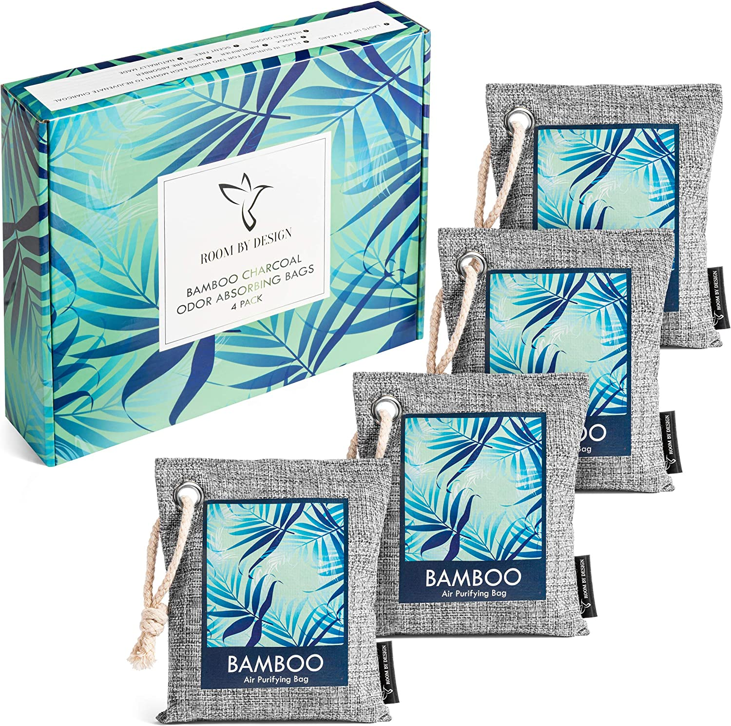 Bamboo Charcoal Air Purifying Bags 4 Pack - Natural Odor Eliminator and Absorber - Activated Charcoal Air Freshener Bag and Deodorizer for Home Car Work - Kid Pet friendly Smell Remover 4x200g