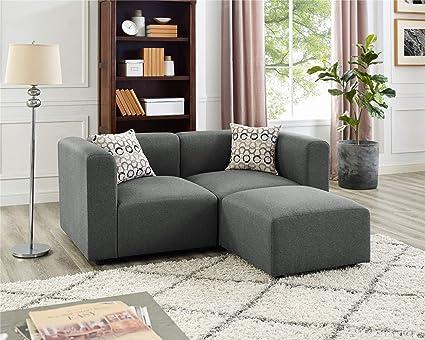 Strange Amazon Com Steel Grey Loveseat Sofas With Ottoman Kitchen Inzonedesignstudio Interior Chair Design Inzonedesignstudiocom