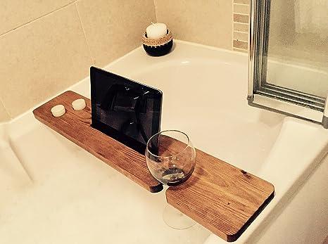 Foto Vasca Da Bagno Con Candele.Vasca Da Bagno Caddy Legno Naturale Con Bicchiere Di Vino