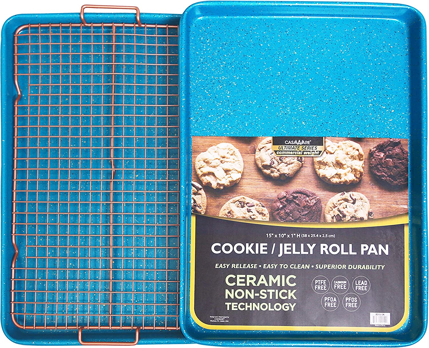 CasaWare 3pc Ultimate Commercial Weight 15 x 10 x 1-inch Cookie Sheet/Cooling Grid Set (Blue Granite)