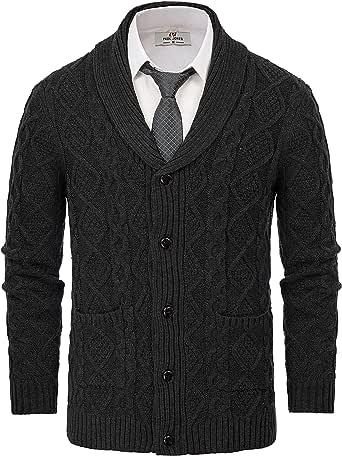 PAUL JONES Men's Knitted Cardigan Sweater Shawl Lapel Long Sleeve Cable Pattern