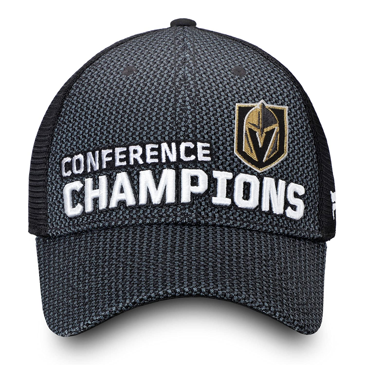61256f2aa10 Amazon.com   Official Vegas Golden Knights 2018 Western Conference  Champions Locker Room Trucker Adjustable Hat - Heather Charcoal   Sports    Outdoors