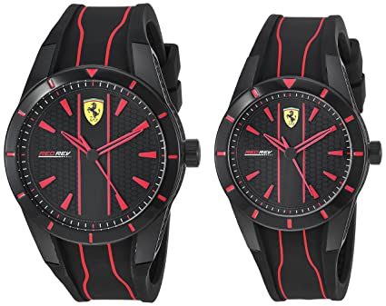 77ccf71a091 Image Unavailable. Image not available for. Color  Ferrari Men s Red Rev  Quartz Watch with Silicone Strap