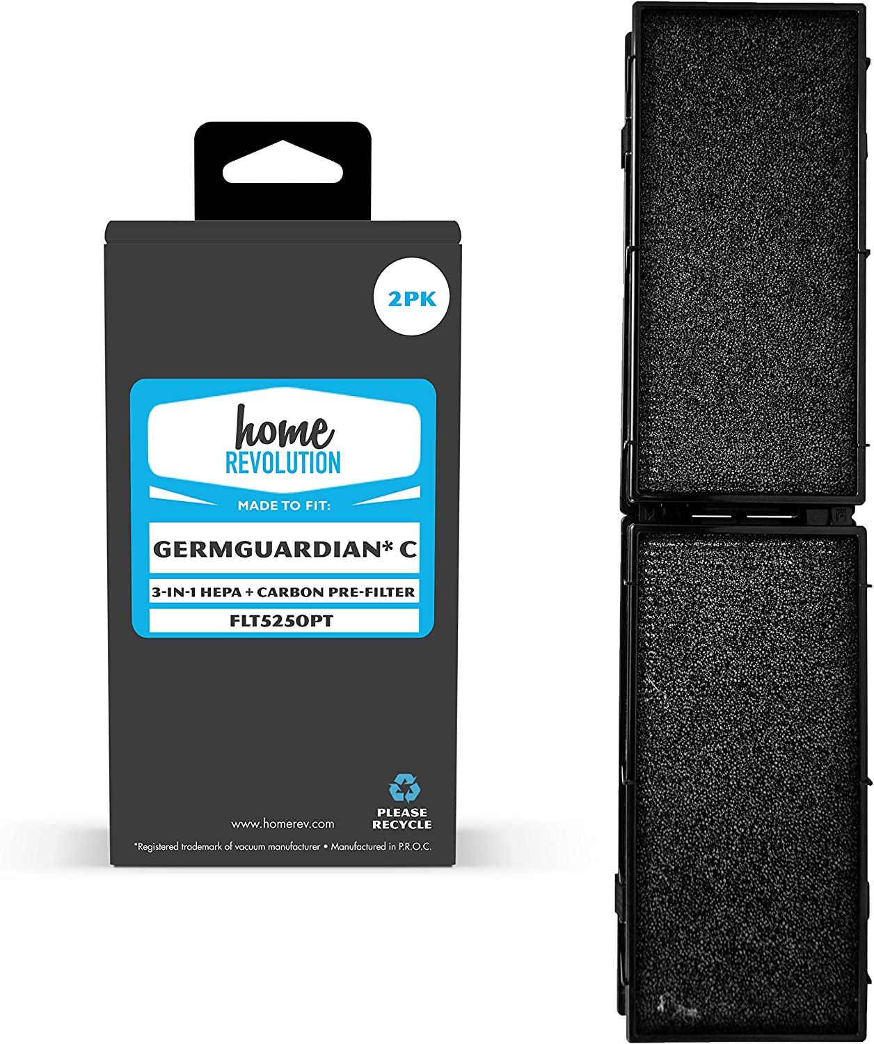 Home Revolution 2 Replacement Carbon and HEPA Filters, Fits GermGuardian C 5000 Series Air Purifier and Part FLT5250PT