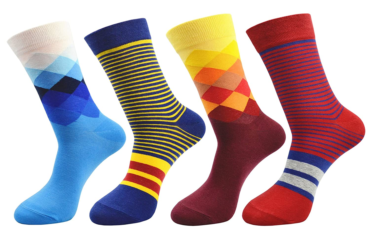 FULIER Mens 4 Pack Colorful Funky Cotton Rich Dress Calf Socks,Comfortable,Breathable,Smart Design Crew Socks