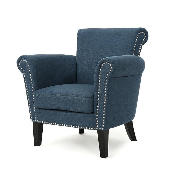 Amazon.com: Christopher Knight Home 302568 Brice-Ckh Arm Chair, Navy Blue + Dark Brown: Kitchen & Dining
