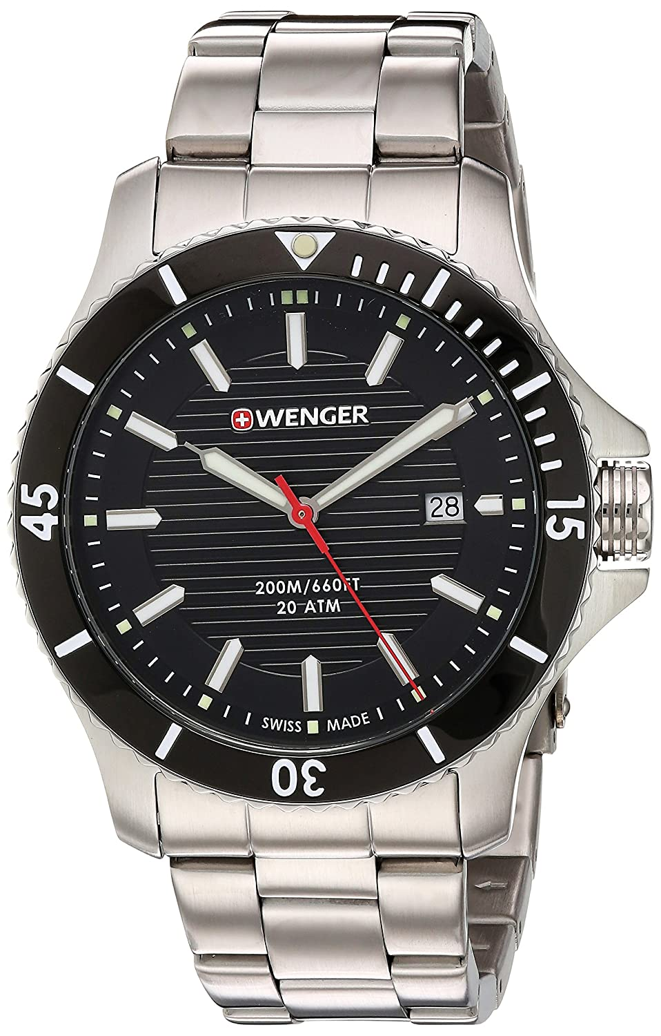 Amazon.com: Wenger Mens Seaforce Swiss Quartz Stainless Steel and Silicone Casual Watch, Color:Black (Model: 01.0641.119): Watches