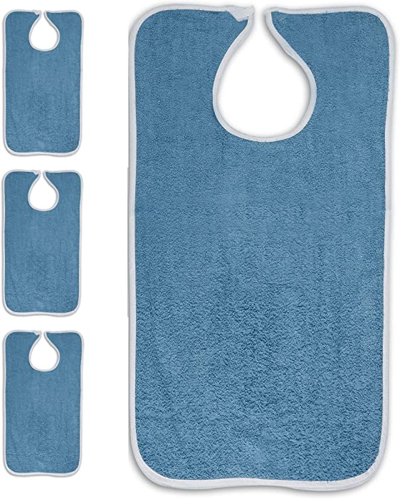 Personal Touch Deluxe Terry Adult Bibs with Closure, 100% Cotton, 3-Pack Size 18X30 (3 Blue)