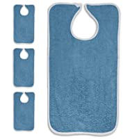 Personal Touch Deluxe Terry Adult Bibs with Closure, 100% Cotton, 3-Pack Size 18X30...