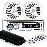"""Marine Stereo Receiver Speaker Kit - In-Dash LCD Digital Console Built-in Bluetooth & Microphone 6.5"""" Waterproof Speakers (2)"""