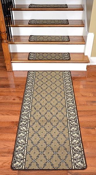Washable Non Skid Carpet Stair Treads   Beige Checkerboard Hexagon (13)