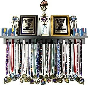 Medal Awards Rack Premier Medal Hanger Display Rack and Trophy Shelf for Gymnastics, Soccer, Basketball, Football, and More – Black, 3 ft