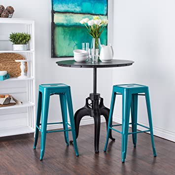 Charming ModHaus Set Of 2 Turquoise French Bistro Tolix Style Metal Bar Stools In  Glossy Powder Coated
