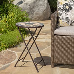 Christopher Knight Home 301158 Silvester Outdoor Accent Tables, Beige and Black