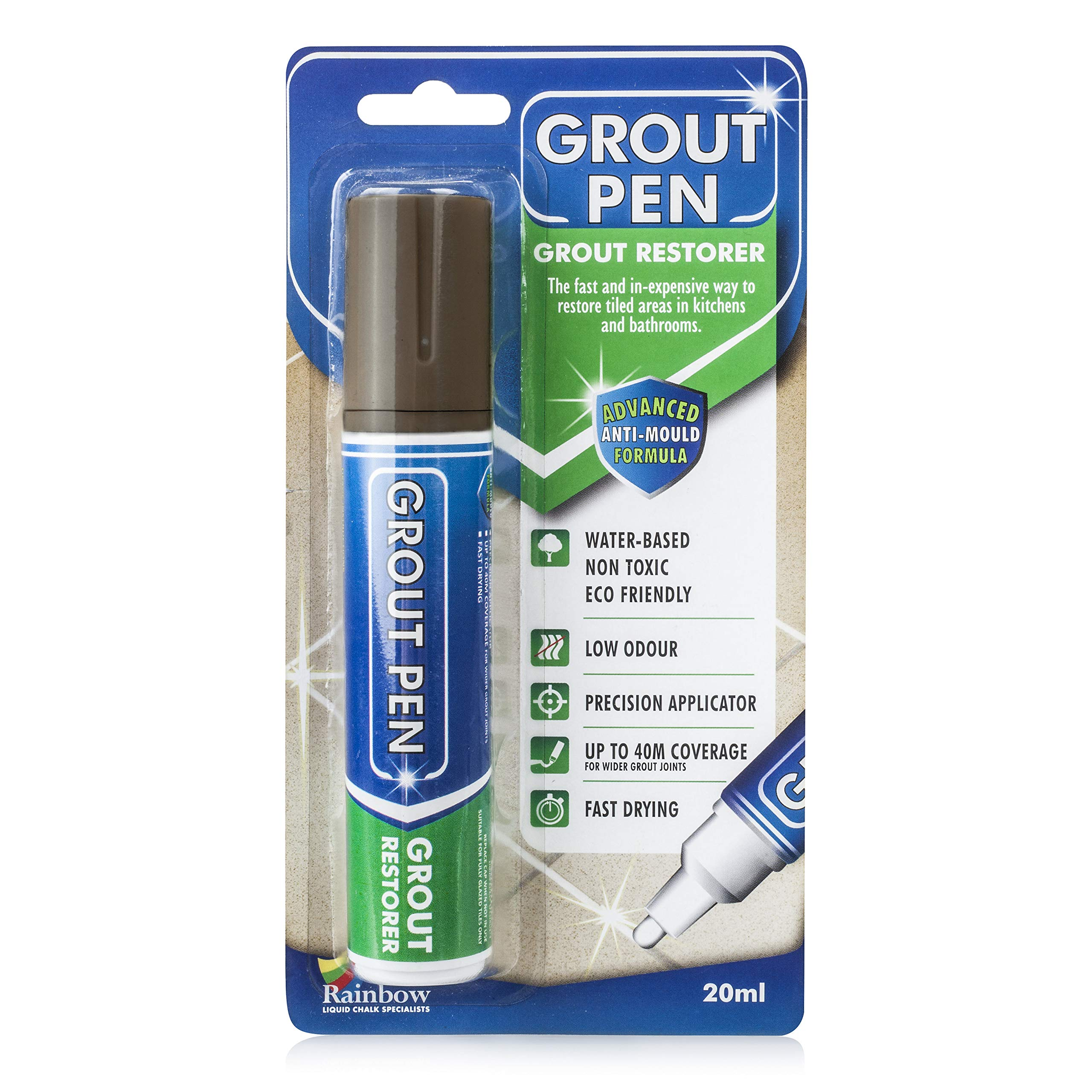 Grout Pen Large Brown - Ideal to Restore the Look of Tile Grout Lines