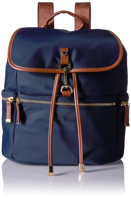 Calvin Klein Women's Lianna Nylon Flap Over Backpack Shoulder Handbag Black/Gold One Size H7AKE6JW