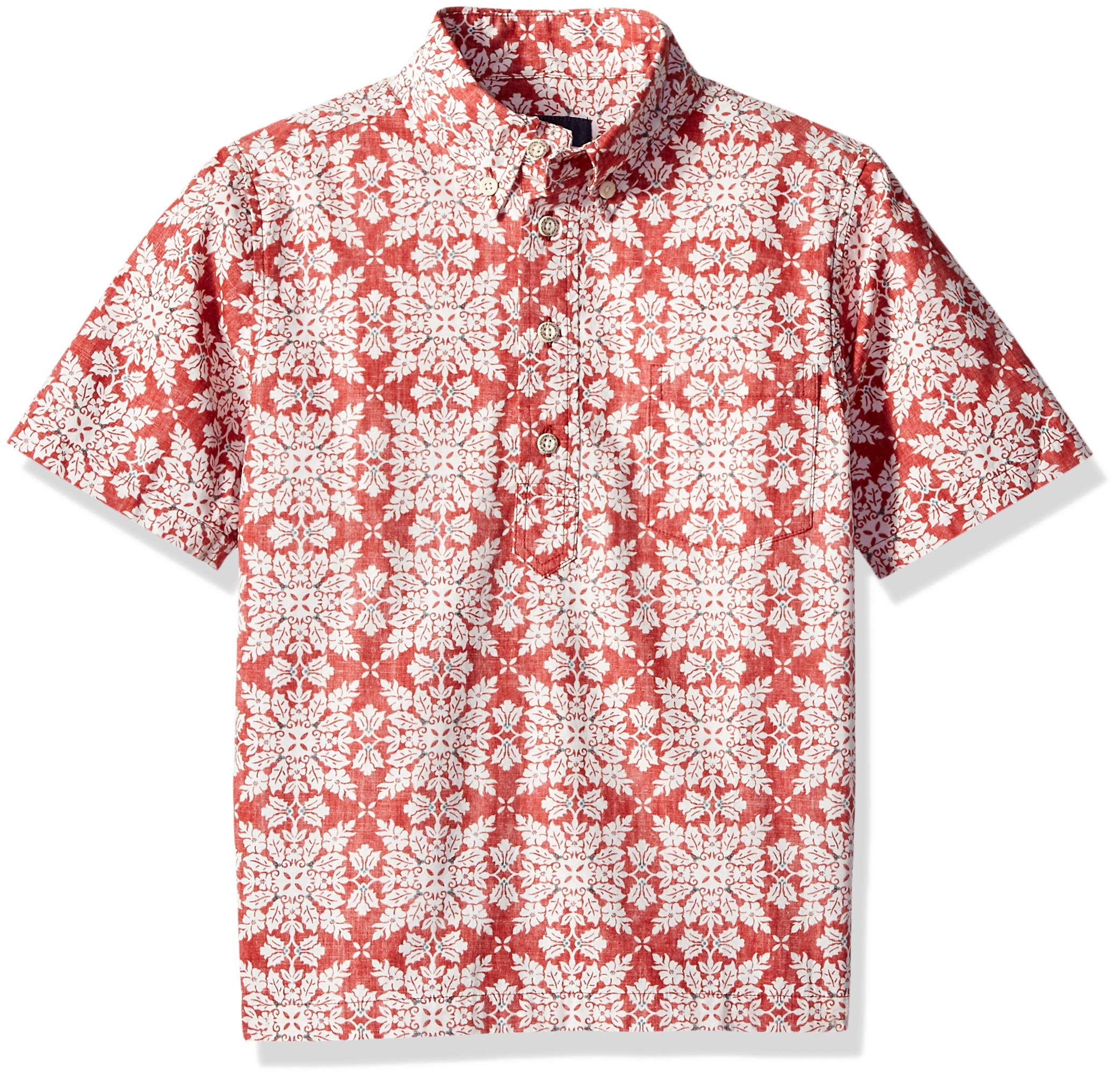 Reyn Spooner Boys' Big Christmas Quilt Pullover Shirt, Christmas Quilt - Red, S