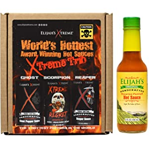 Elijah's Xtreme Hot Sauce Variety Pack of 4 Bottles - World's Hottest Xtreme Trio and Mild Roasted Pepper Hot Sauce