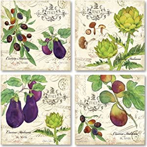 Cucina Italiana; Fun, Colorful Egglplant, Artichoke and Olives; Kitchen Decor Four 12x12 Poster Prints