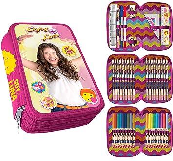 MovilCom® - Estuche Escolar 3 Cremalleras plumier con Material | Soy Luna | Happy: Amazon.es: Juguetes y juegos