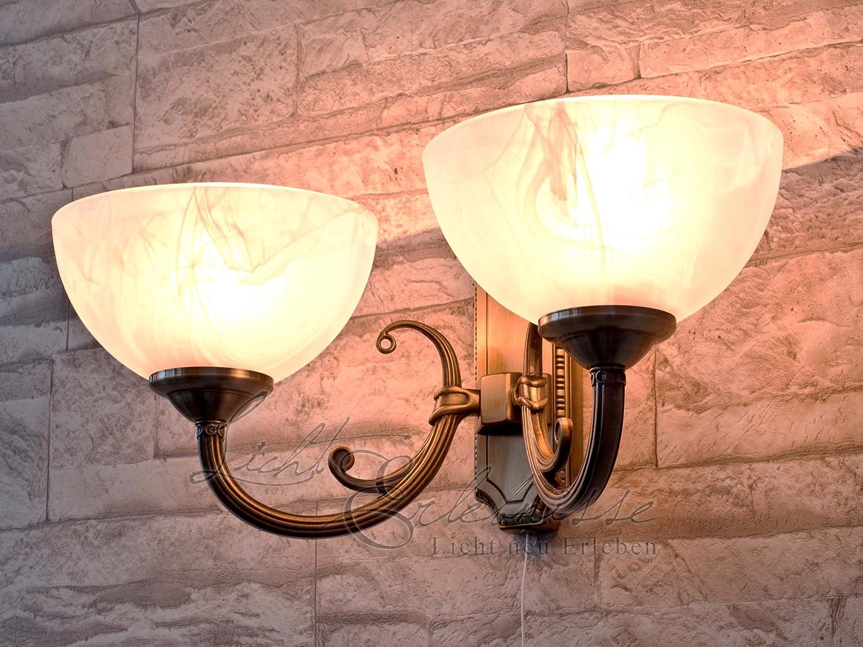 Applique Lampe Luminaire Murale Intérieur Style Art Nouveau 2 Lumières Bronze / Verre Albâtre 1/1/793