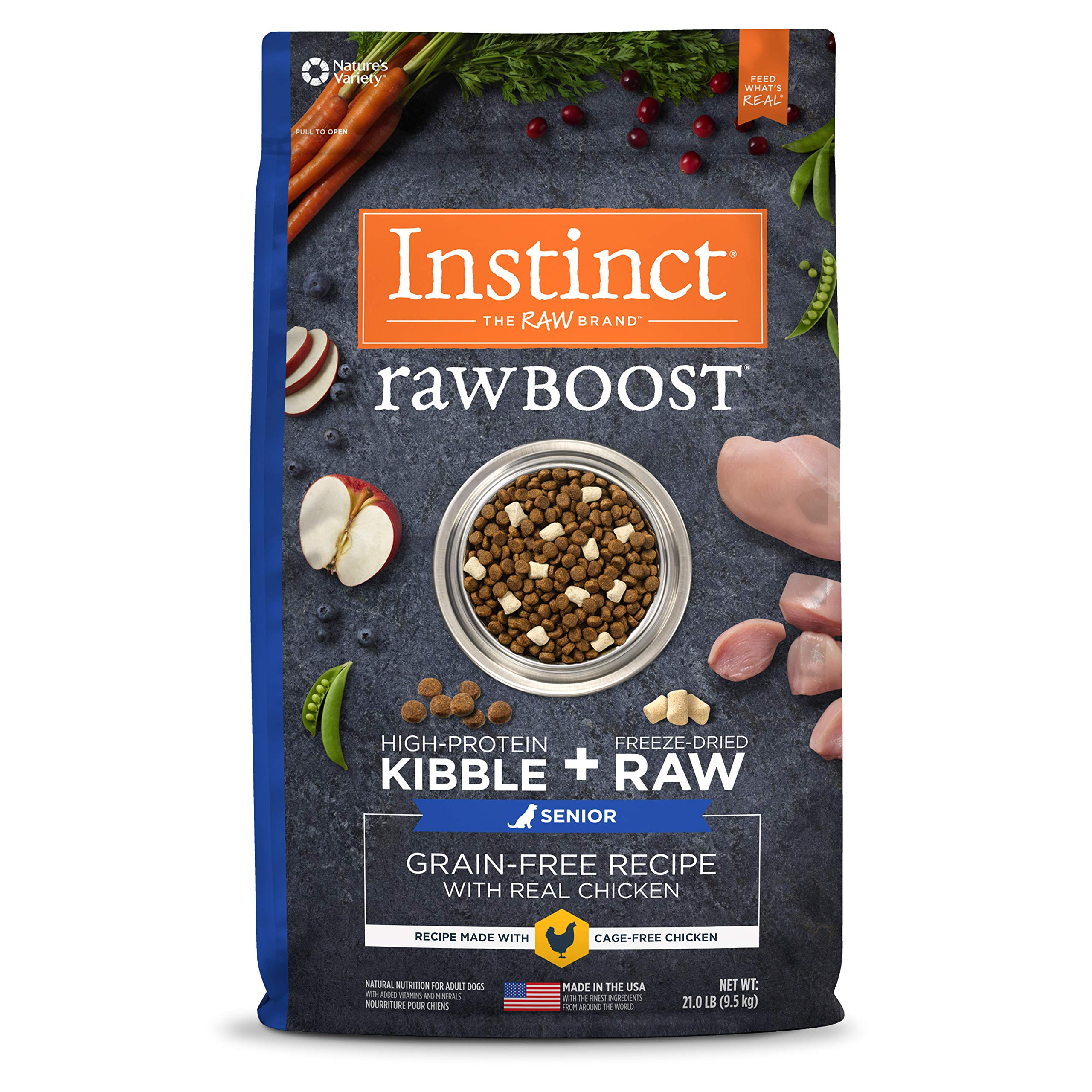 Instinct Raw Boost Senior Grain Free Recipe with Real Chicken Natural Dry Dog Food by Nature's Variety, 21 lb. Bag by Instinct