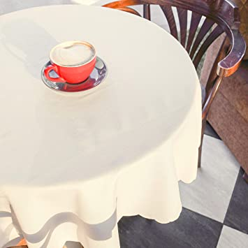 Checked Round Tablecloth Dustproof Wedding Dinning Table Cover Polyester