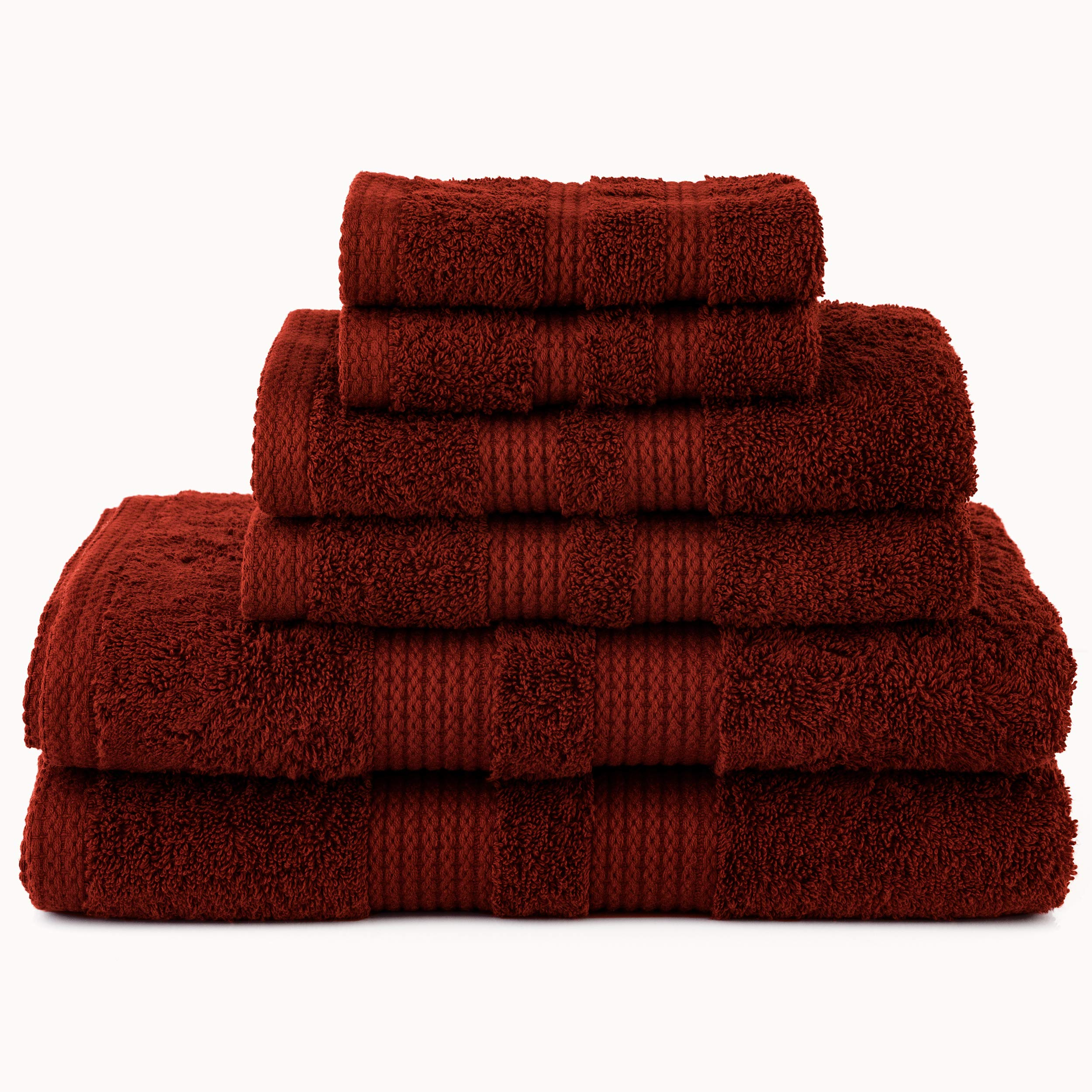 HomeCrate Duo 6 Piece Premium Towel Set, 600 GSM 100% Egyptian Cotton - Brick - Hotel Quality, Super Soft and Highly Absorbent