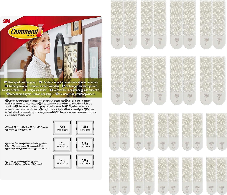 Command PH203-18NA Tiras para colgar cuadros blancas pequeñas y medianas, 8 Medium and 10 Small