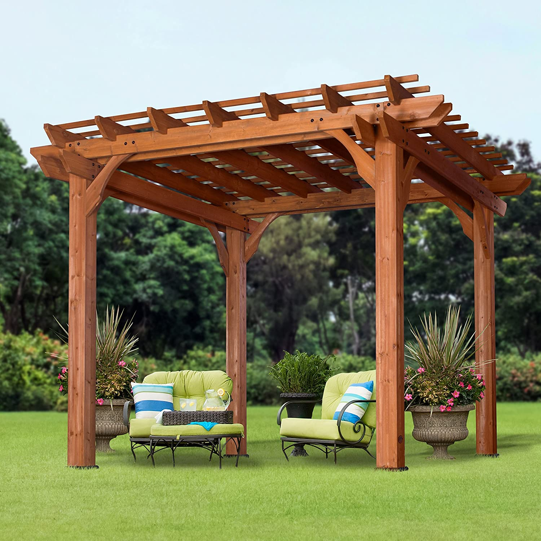 amazon com backyard discovery cedar pergola 10 u0027x 10 u0027 garden