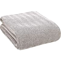 Glamburg 100% Soft and Breathable Cotton Thermal Blanket Twin Charcoal - Herringbone Weave Cotton Blanket - Perfect for…