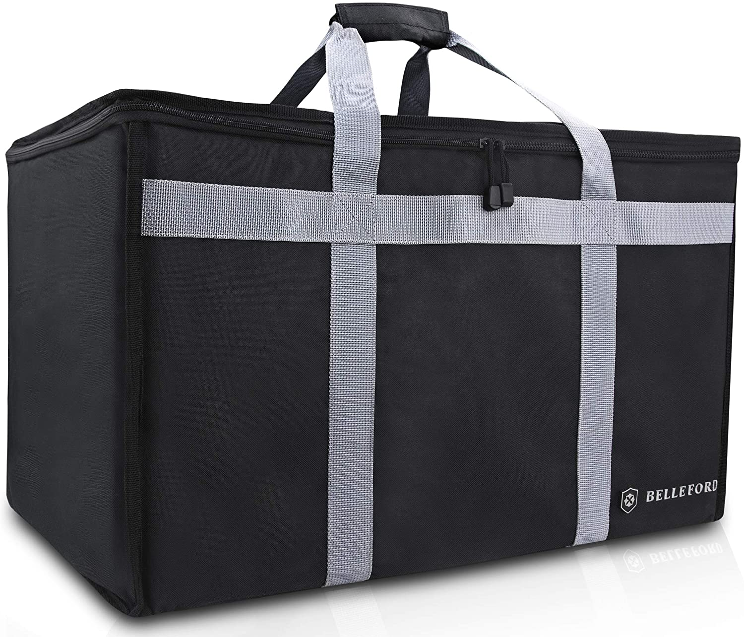 Belleford Insulated Food Delivery Bag - XXL Waterproof Warmer Cooler Grocery Storage