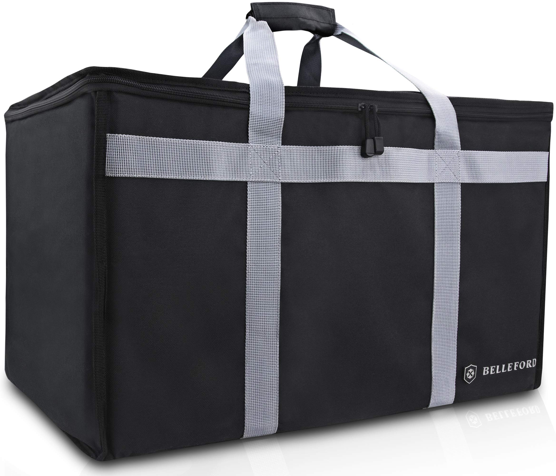 Insulated Food Delivery Bag - Waterproof Warmer Cooler Grocery Storage Bags - Restaurant Buffet Server, Warming Tray, Lunch Container Store - Steamer, Pizza Box, Chafing Dish & Casserole Carrying Case by Belleford