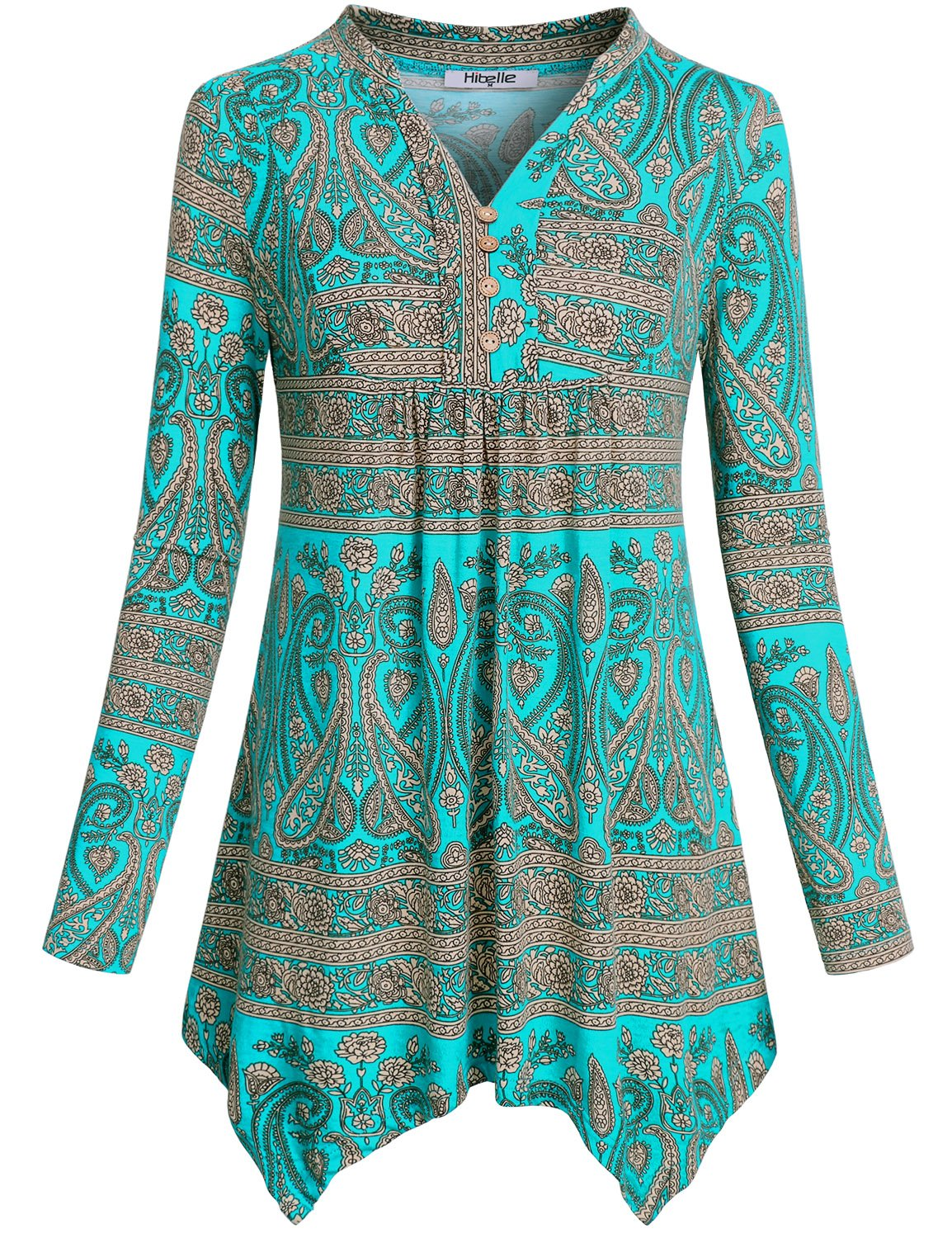 Hibelle Going Out Tops for Women, Ladies Paisley Shirt Henley Henley Split Vneck Flattering Country Style Stretchy Soft Floral Print Pattern Empire Waist Peplum Green L