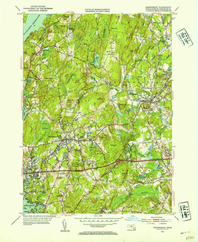 Amazon.com: YellowMaps Shrewsbury MA topo map, 1:31680 Scale ...
