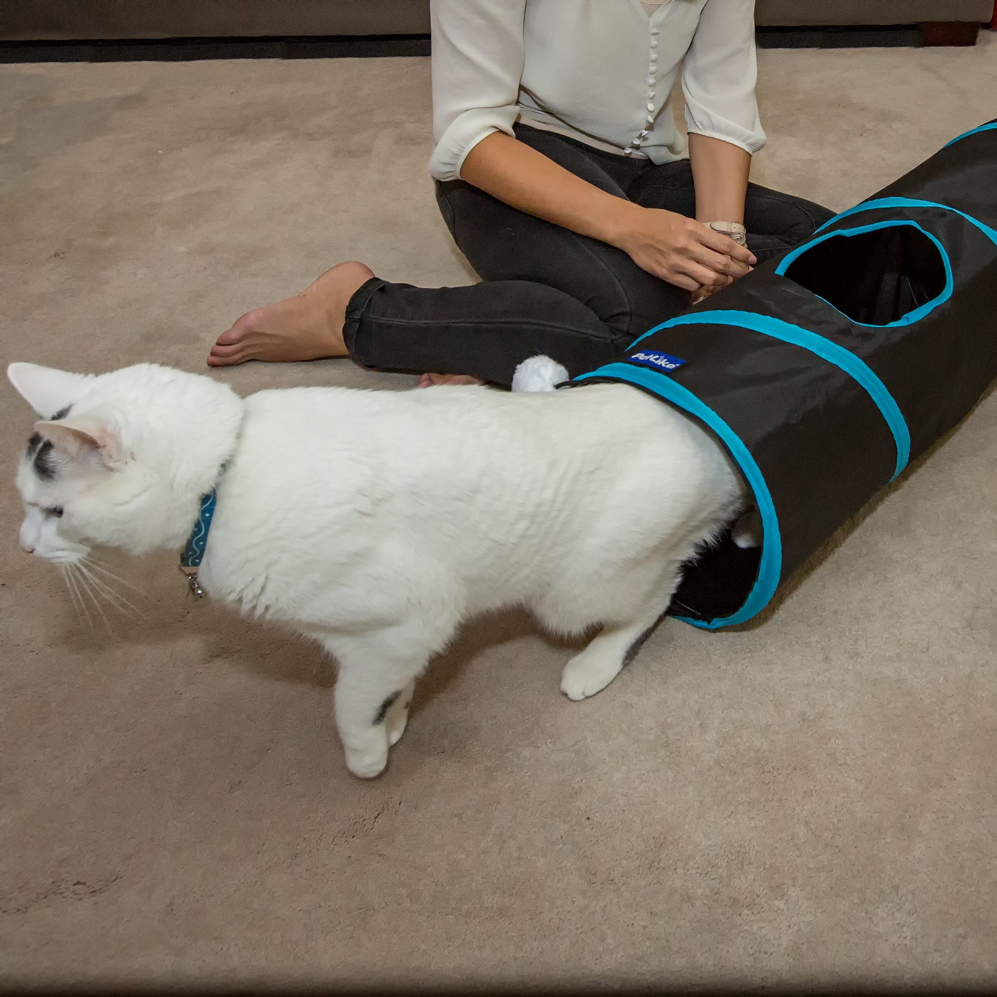 PetLike Deluxe Collapsible Cat Tunnel Toy By Pet Tube For Kittens, Puppies, Rabbits And Other Small-Sized Pets Fun And Durable Hideaway For Entertainment, Training, Exercise And Running by PetLike (Image #7)