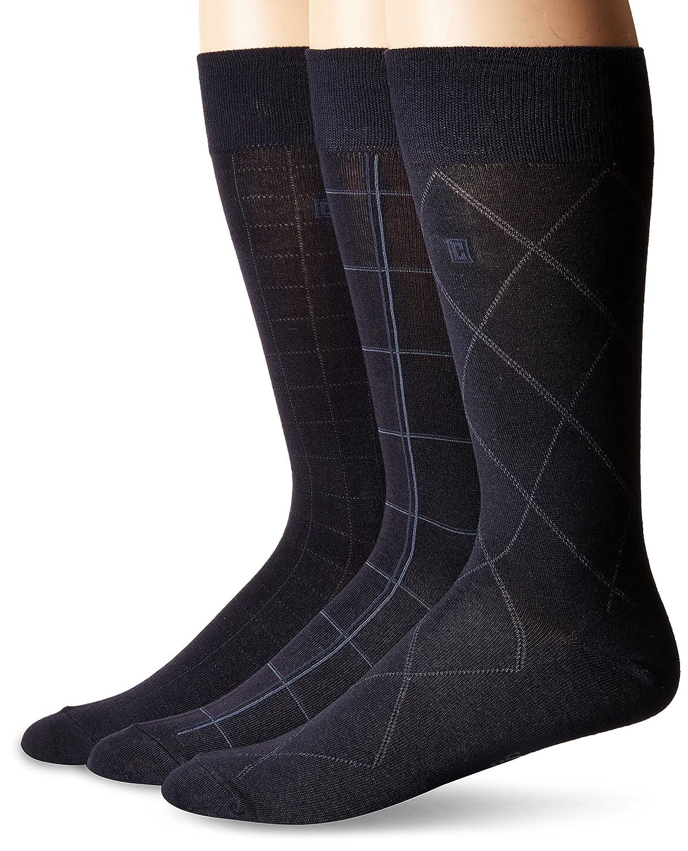 Chaps Mens Assorted Classic Fashion Pattern Dress Crew Socks black Shoe Size 3 Pack 6-12 CD106PK