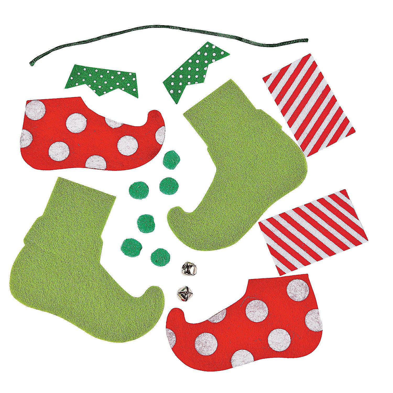 Felt Elf Feet Ornament Craft Kit; Makes 6 Kits Fun Express 41/1816