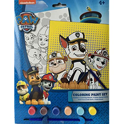Paw Patrol Coloring Paint Set includes: 2 coloring sheets, 6 water based paints, and 1 paint brush: Toys & Games