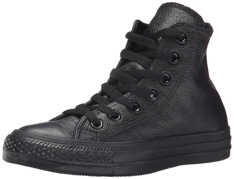 Black Mono Converse Women's Chuck Taylor All Star Leather High Top Sneaker