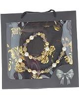 Coffret foulard avec bijou assorti - couleur Noir et or pour Femmes
