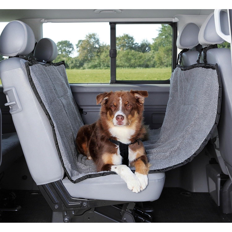 Trixie Dog Car Seat With Fur Effect (UK Size  1.45 × 1.60 m) (Black Light Grey)