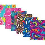 New Generation - Floral - 2 Pocket Folder / Portfolio , 6 PACK ,Letter Size , 3 Hole Punch folders , Heavy Duty UV Glossy Laminated - Assorted 6 Fashion Designs Folders , Back to School . (6 PACK)