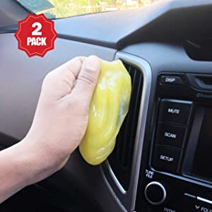 EcoNour Cleaning Gel for Car Detailing Tools (Yellow)   Complete Car Interior Dust Removal Putty   Universal dust Removal Slime for PC & Laptop Keyboard, Cameras, Home & Office Electronics (2Pack)
