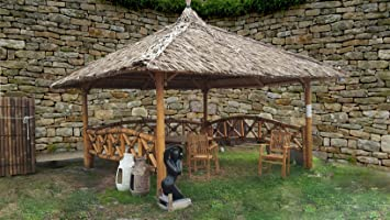 Bali Cenador, gazebo, Bali cabaña de bambú con laterales, 2 x 2 m hasta 4 x 4 m: Amazon.es: Jardín