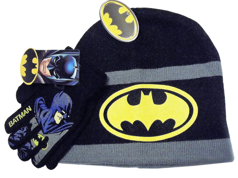 Batman Black Grey Striped Grey Knit Beanie Hat Black Gloves Set