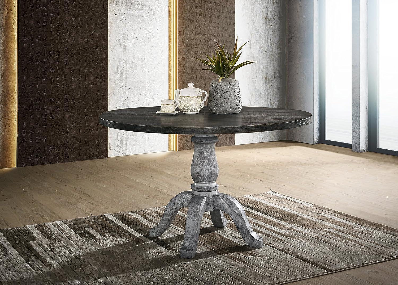 Roundhill Furniture Iris Round Pedestal Wood Dining Table, Weathered White